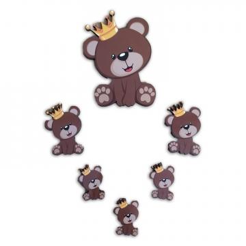 CajuArt 6 Parça Kral Ayıcık Ahşap Sticker Yapıştırma Dekor Süs