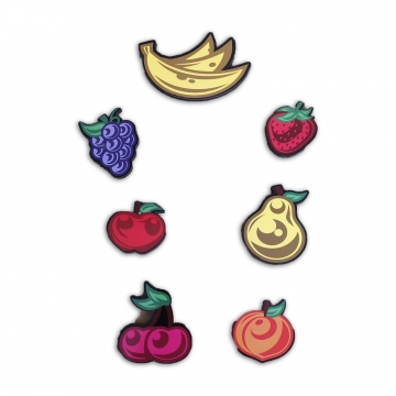 CajuArt 7 Parça Karışık Meyveler Ahşap Sticker Yapıştırma Dekor
