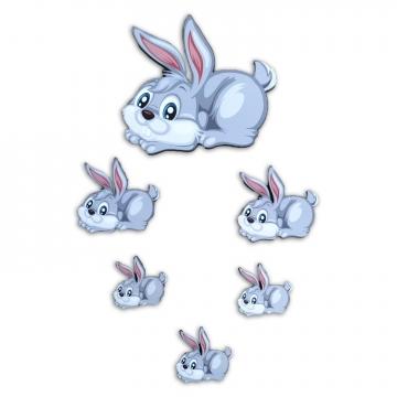 CajuArt 6 Parça Sevimli Tavşan Ahşap Sticker Yapıştırma Dekor Süs