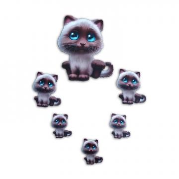 CajuArt 6 Parça Sevimli Kedi Ahşap Sticker Yapıştırma Dekor Süs