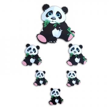 CajuArt 6 Parça Sevimli Panda Ahşap Sticker Yapıştırma Dekor Süs