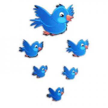CajuArt 6 Parça Sevimli Mavi Kuş Ahşap Sticker Yapıştırma Dekor