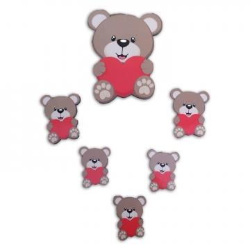 CajuArt 6 Parça Sevimli Kalpli Ayıcık Ahşap Sticker Yapıştırma