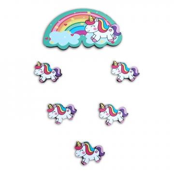 CajuArt 6 Parça Unicorn Gökkuşağı Ahşap Sticker Yapıştırma Dekor