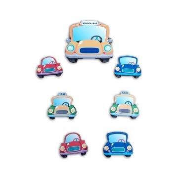 CajuArt 7 Parça Renkli Arabalar Ahşap Sticker Yapıştırma Dekor