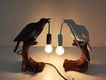 CajuArt Ağaç Dalı Üzerinde Lamba Tutan Kuş Abajur Masa Lambası