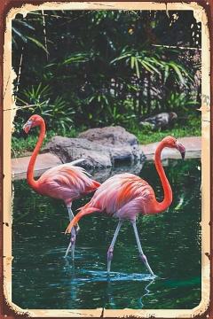 CajuArt Flamingolar İçindekiler Retro Ahşap Plaka Duvar Dekor Tablo 20x30 cm