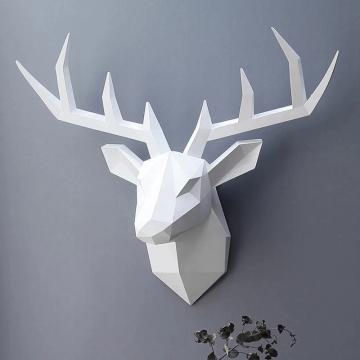 CajuArt Dekoratif Norveç Stil Büyük Boy Geometrik Boynuzlu Geyik Kafası Duvar Dekoru