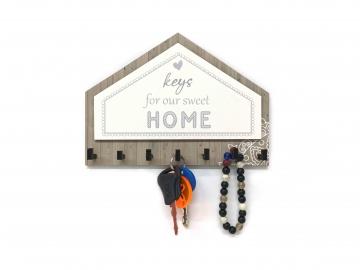 CajuArt Üçgen Kahverengi Gri Keys For Home Dekoratif Ahşap Anahtarlık