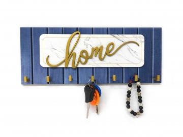 CajuArt Kabartma Home Yazılı Modern Ahşap Anahtar Askısı Hol Dekor