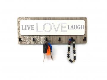 CajuArt Dikdörtgen Live Love Lough Gri Ahşap Modern Anahtarlık Dekor