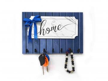 CajuArt Modern Mavi Ahşap Desenli Home Yazılı Kurdele Süslü Anahtarlık