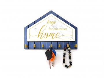 CajuArt Üçgen Keys For Home Dekoratif Ahşap Anahtarlık Modern Dekor
