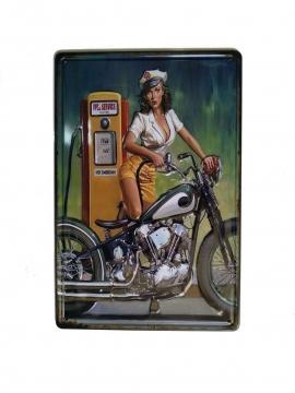 CajuArt Motorcu Kız Temalı 20x30 cm Metal Plaka Metal Tablo