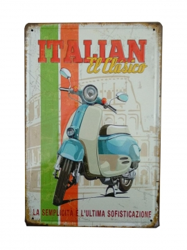 CajuArt İtalya Klasik Vespa Motor Retro Metal Plaka 20x30 cm Metal Tablo