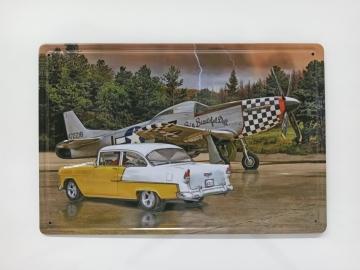 CajuArt Klasik Araba Uçak Retro Metal Plaka 20x30 cm Metal Tablo