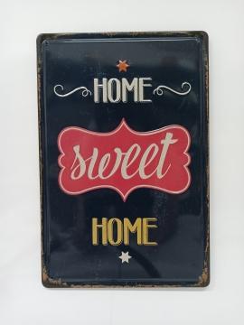 CajuArt Home Sweet Home Retro Metal Plaka 20x30 cm Metal Tablo
