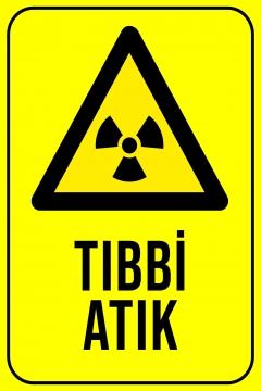 CajuArt Tıbbi Atık 1 Ahşap 20x30 cm Uyarı İkaz Yönlendirme Levhası