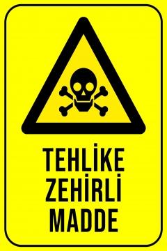 CajuArt Tehlike Zehirli Madde Ahşap 20x30 cm Uyarı İkaz Yönlendirme Levhası