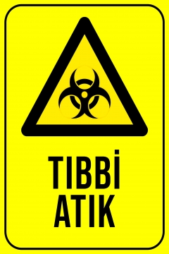 CajuArt Tıbbi Atık 2 Ahşap 20x30 cm Uyarı İkaz Yönlendirme Levhası