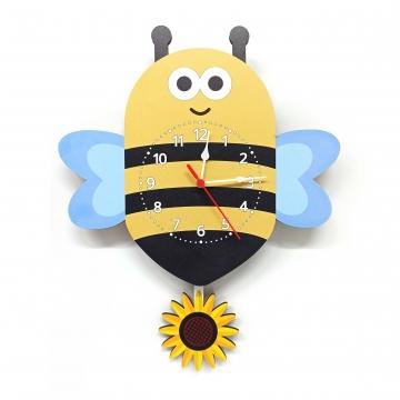 CajuArt Ahşap Sallanan Sarkaçlı Arı Çiçek Desenli Çocuk Odası Duvar Saati