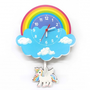 CajuArt Ahşap Sallanan Sarkaçlı Unicorn Bulut Desenli Çocuk Odası Duvar Saati