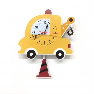 CajuArt Ahşap Sallanan Sarkaçlı Araba Çekici Desenli Çocuk Odası Duvar Saati