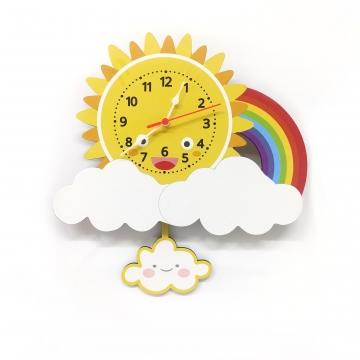 CajuArt Ahşap Sallanan Sarkaçlı Güneş Bulut Temalı Çocuk Odası Duvar Saati