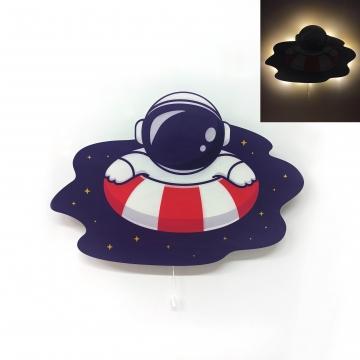 CajuArt Astronot Can Simidi Ahşap Led Işıklı Çocuk Odası Duvar Tablosu Dekor