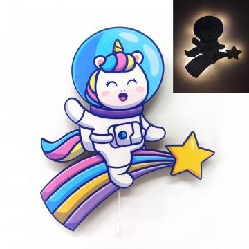 CajuArt Unicorn Gökkuşağı Astronot Ahşap Led Işıklı Çocuk Odası Duvar Tablosu Dekor