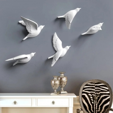 CajuArt Dekoratif 5 Farklı Parça Üç Boyutlu Modern Uçan Kuşlar Duvar Dekoru