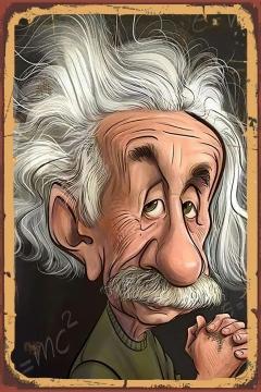 CajuArt Einstein Karikatür Tablo Retro Ahşap Plaka Duvar Dekor Tablo 20x30 cm