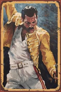 CajuArt Freddie Mercury Tablo Retro Ahşap Plaka Duvar Dekor Tablo 20x30 cm