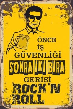 CajuArt İş Güvenliği Bira Rock'n Roll Tablo Retro Ahşap Plaka Duvar Dekor Tablo 20x30 cm